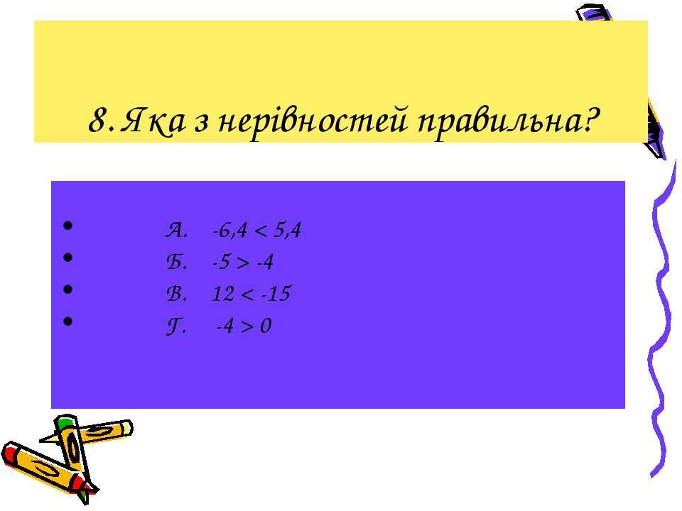 8. Яка з нерівностей правильна? А. -6,4 < 5,4 Б. -5 > -4 В. 12 < -15 Г. -4 > 0