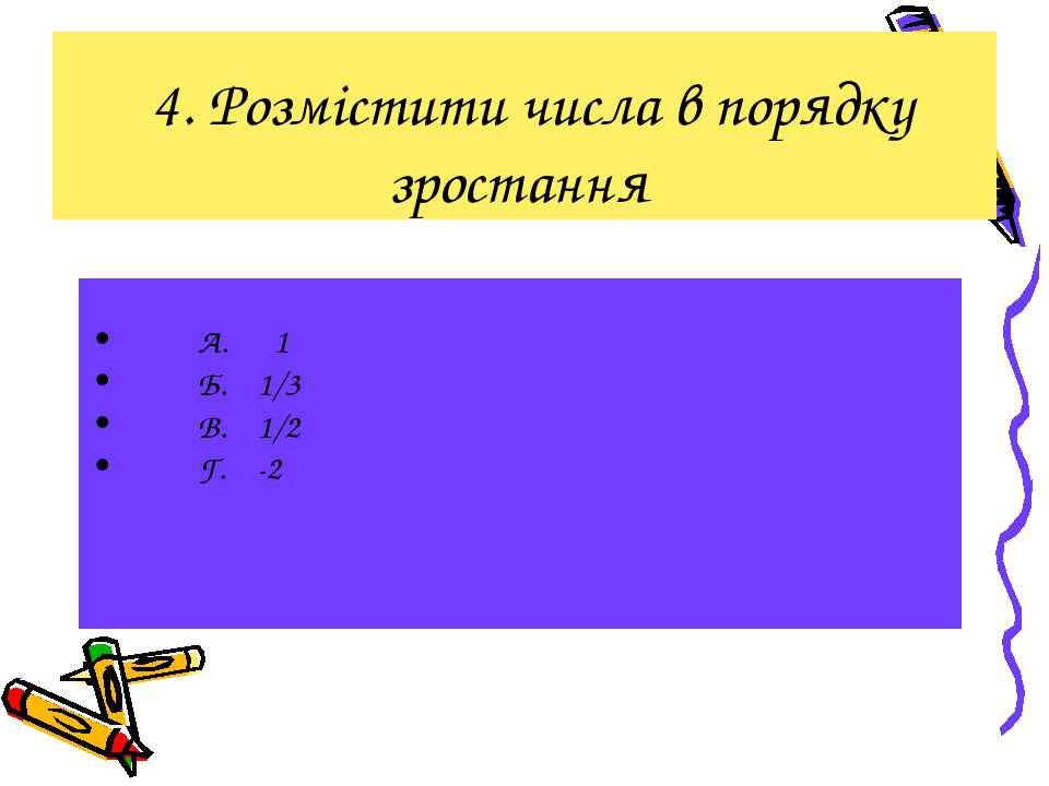 4. Розмістити числа в порядку зростання А. 1 Б. 1/3 В. 1/2 Г. -2
