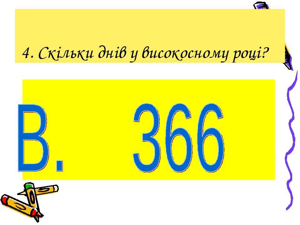 4. Скільки днів у високосному році?