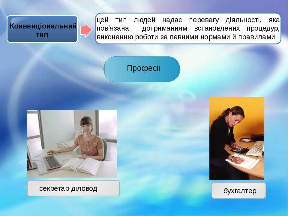 Конвенціональний тип Професії секретар-діловод бухгалтер