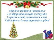 Хай днів різдвяно-новорічних Не змарновано буде й секунди! І щастя вогні, роз...