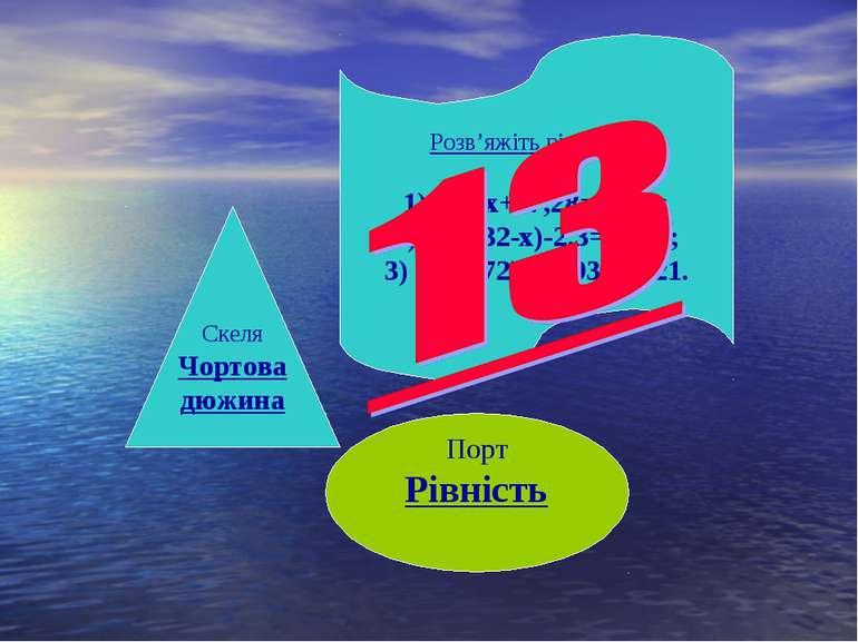 Порт Рівність Скеля Чортова дюжина Розв'яжіть рівняння: 1) 3х+17,28=56,28; (3...