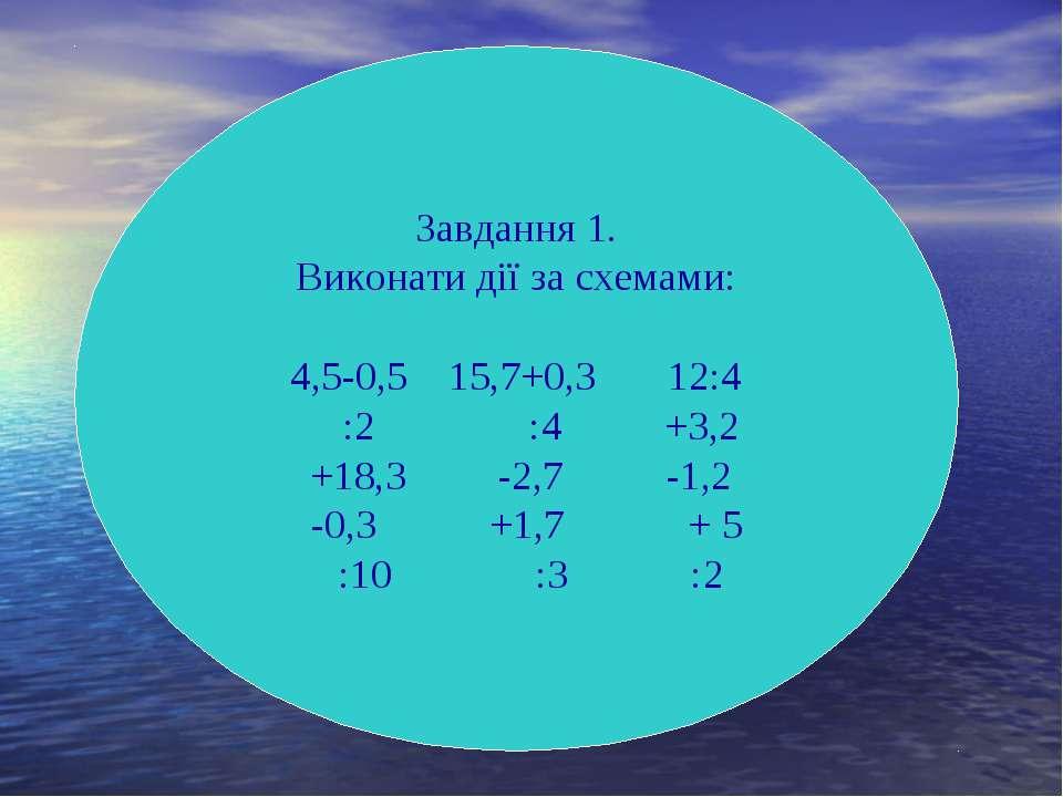 Завдання 1. Виконати дії за схемами: 4,5-0,5 15,7+0,3 12:4 :2 :4 +3,2 +18,3 -...