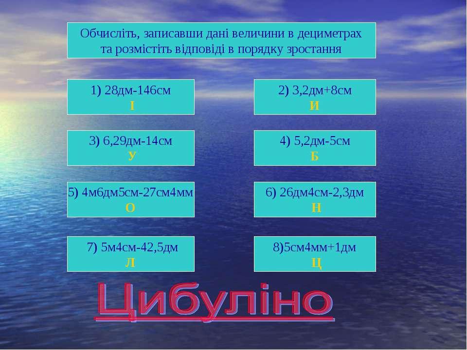 1) 28дм-146см І 6) 26дм4см-2,3дм Н 5) 4м6дм5см-27см4мм О 4) 5,2дм-5см Б 3) 6,...