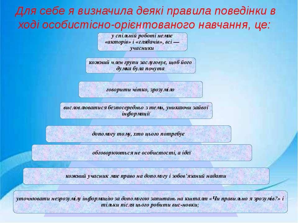 Для себе я визначила деякі правила поведінки в ході особистісно-орієнтованого...