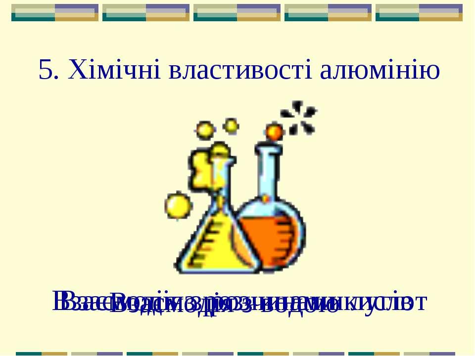 5. Хімічні властивості алюмінію Взаємодія з водою Взаємодія з розчинами кисло...