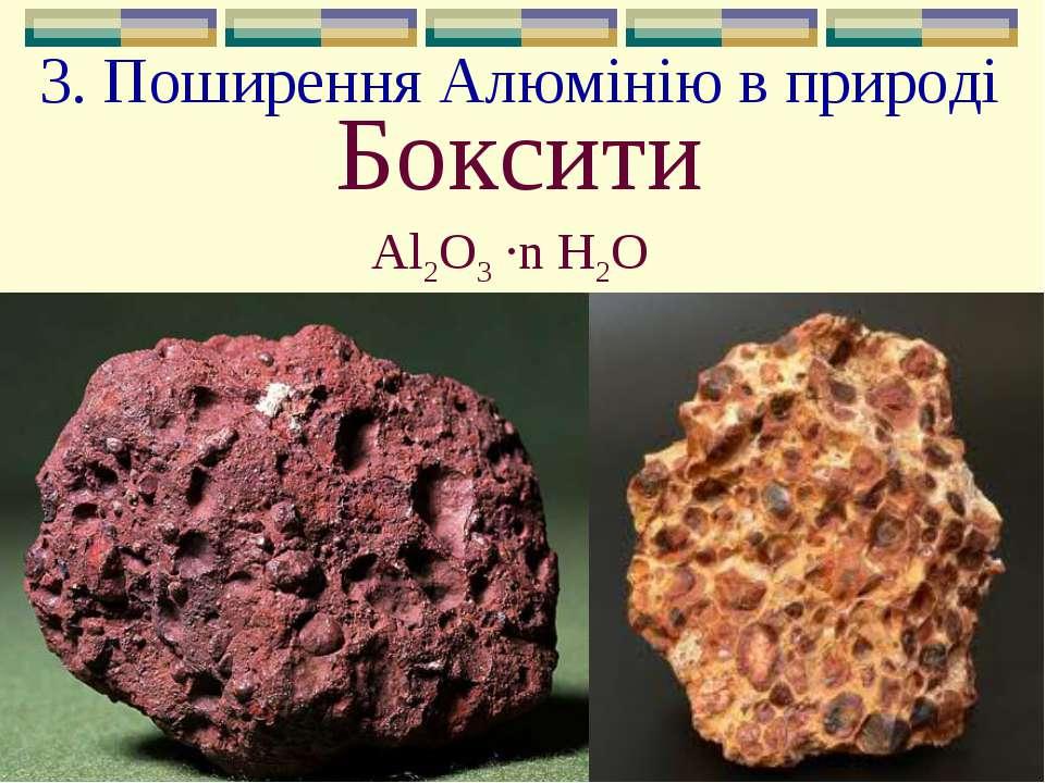 3. Поширення Алюмінію в природі Боксити Al2O3 ∙n H2О