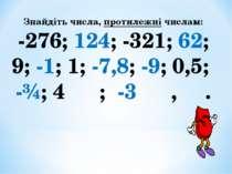 Знайдіть числа, протилежні числам: -276; 124; -321; 62; 9; -1; 1; -7,8; -9; 0...