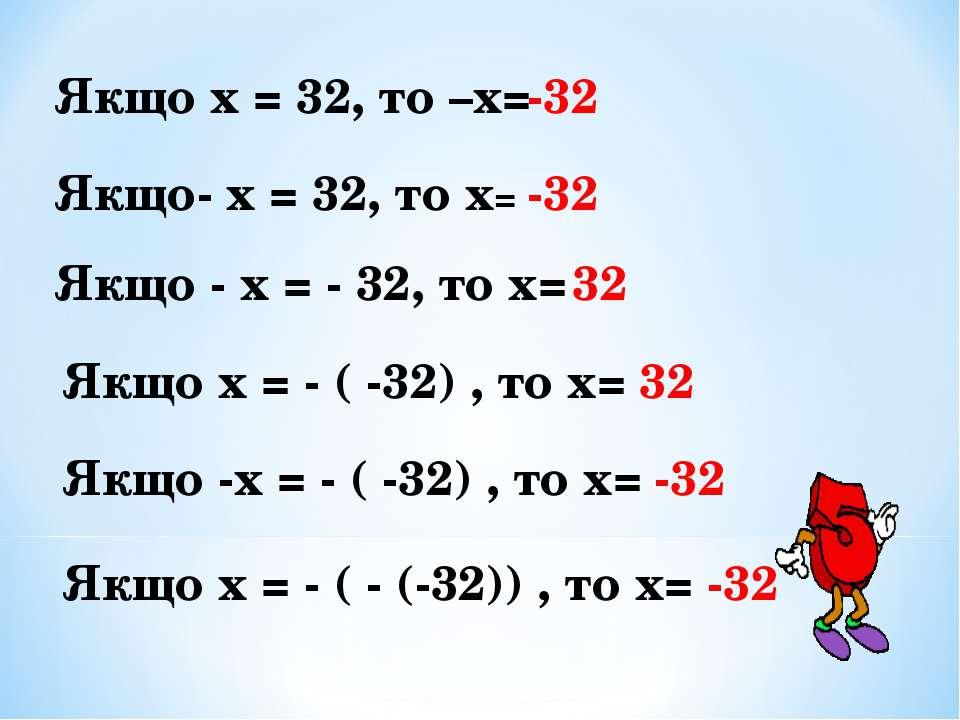 Якщо х = 32, то –х= -32 Якщо- х = 32, то х= -32 Якщо - х = - 32, то х= 32 Якщ...