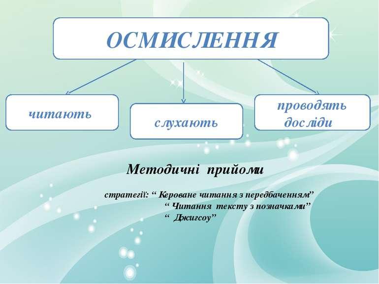 """Методичні прийоми стратегії: """" Кероване читання з передбаченням"""" """" Читання те..."""