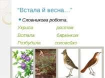 """""""Встала й весна…"""" Словникова робота. Укрила рястом Встала барвінком Розбудила..."""