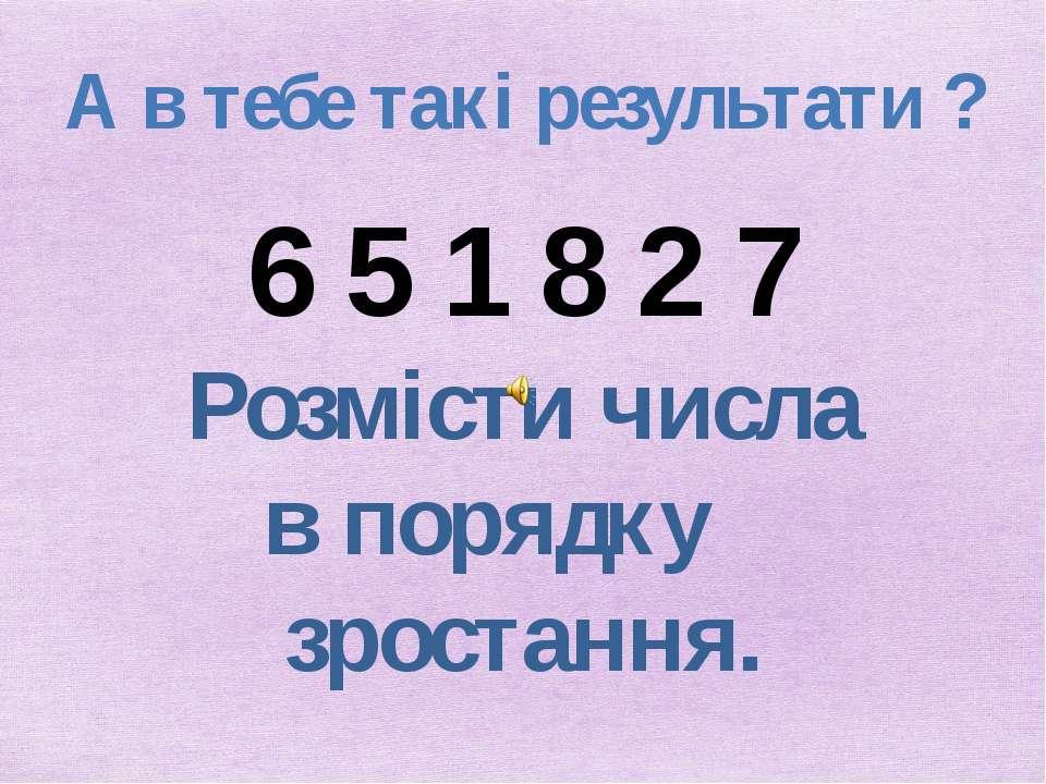 А в тебе такі результати ? 6 5 1 8 2 7 Розмісти числа в порядку зростання.
