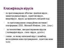 Класифікація вірусів по приголомшуваних об'єктам ( файлові віруси , завантажу...
