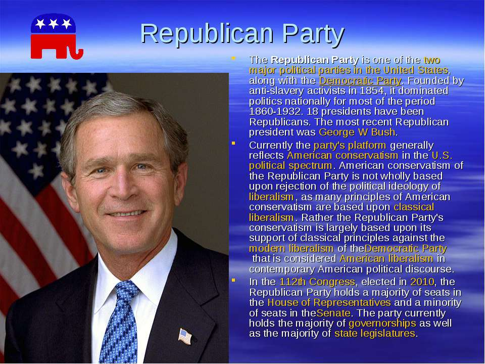 Republican Party TheRepublican Partyis one of thetwomajorpolitical parti...