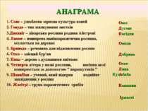 АНАГРАМА 1. Сове – улюблена зернова культура коней 2. Говуде – тип жилкування...