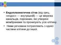 Ендоплазматична сітка (від грец. «ендос» — внутрішній) — це мережа канальців,...