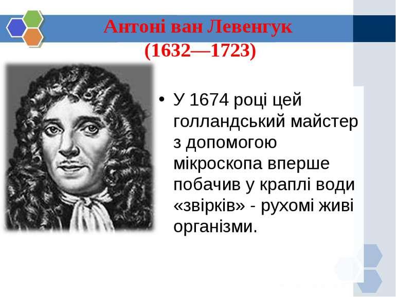 Антоні ван Левенгук (1632—1723) У 1674 році цей голландський майстер з допомо...