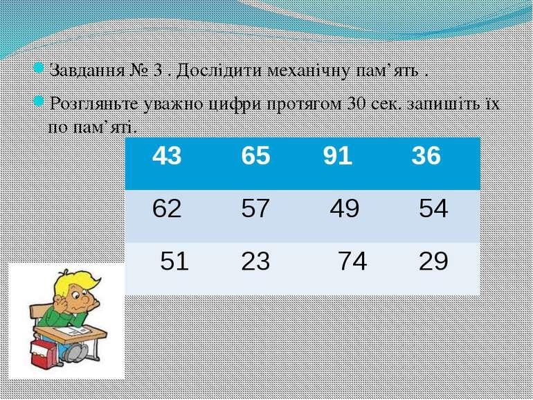 Завдання № 3 . Дослідити механічну пам'ять . Розгляньте уважно цифри протягом...