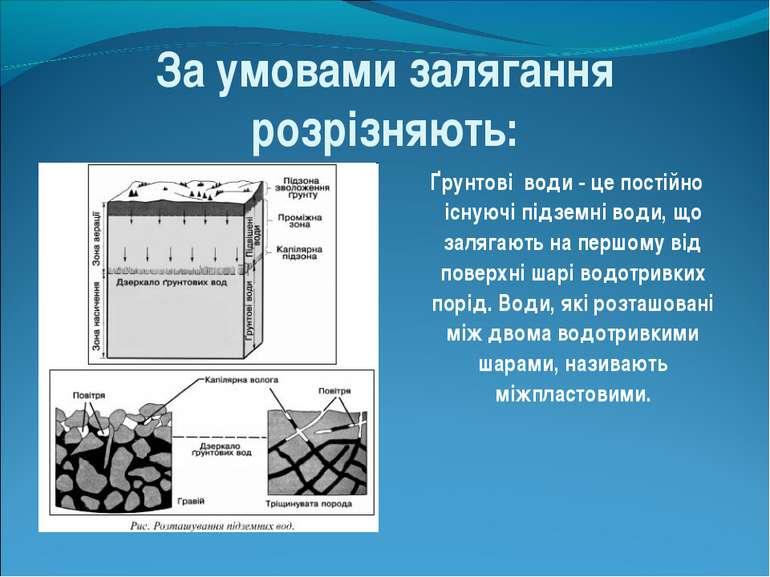За умовами залягання розрізняють: Ґрунтові води - це постійно існуючі підземн...