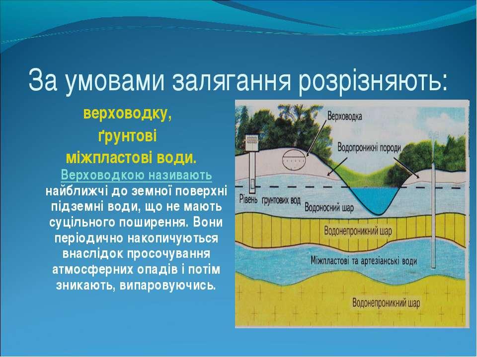 За умовами залягання розрізняють: верховодку, ґрунтові міжпластові води. Верх...