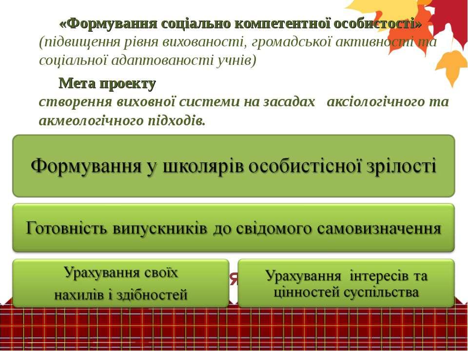 Завдання проекту «Формування соціально компетентної особистості» (підвищення ...