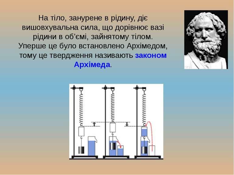 На тіло, занурене в рідину, діє вишовхувальна сила, що дорівнює вазі рідини в...