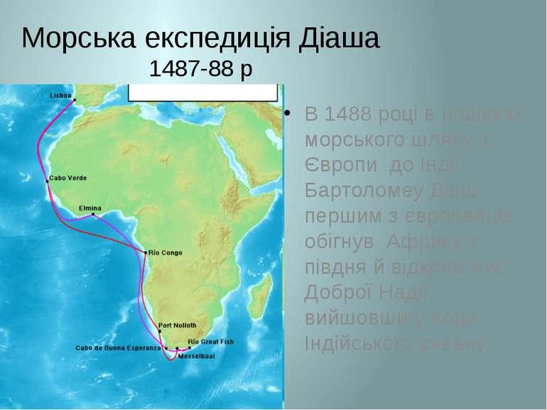 Морська експедиція Діаша 1487-88 р В 1488 році в пошуках морського шляху з Єв...