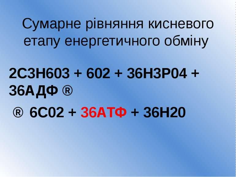 Сумарне рівняння кисневого етапу енергетичного обміну 2С3Н603 + 602 + 36Н3Р04...