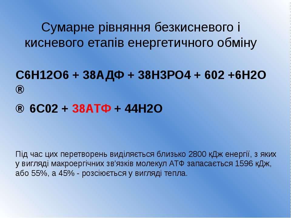 Сумарне рівняння безкисневого і кисневого етапів енергетичного обміну C6H12O6...