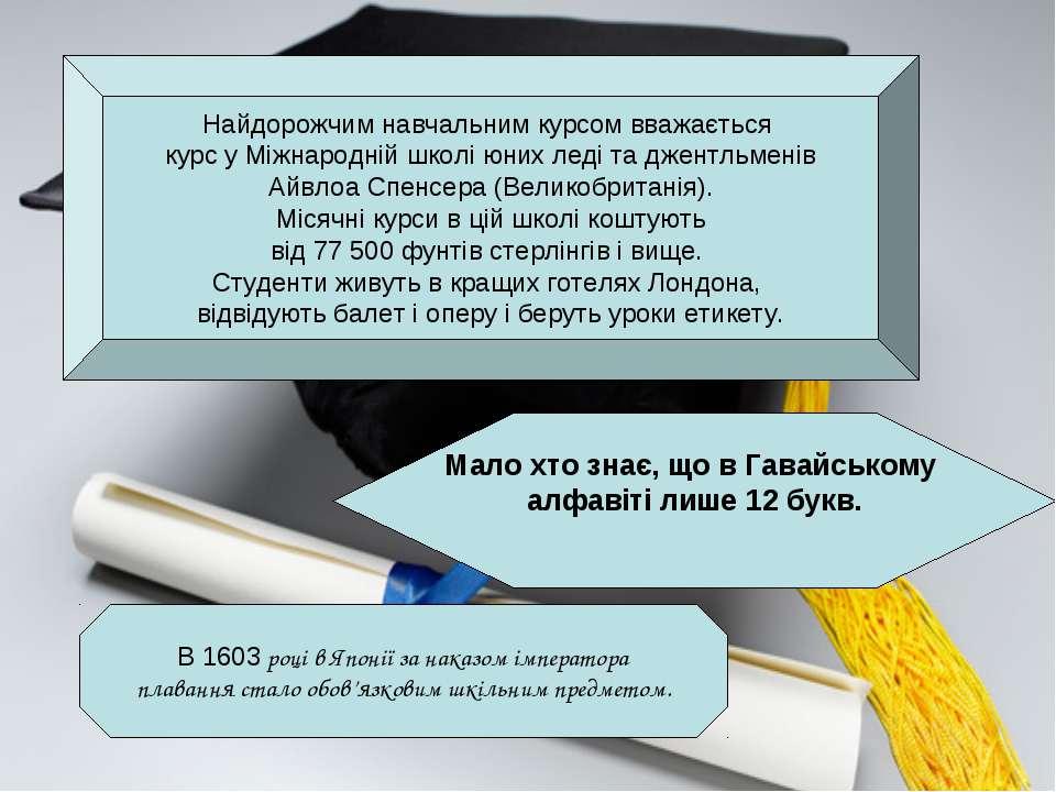 Найдорожчим навчальним курсом вважається курс у Міжнародній школі юних леді т...