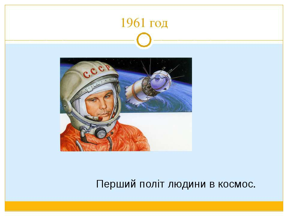 1961 год Перший політ людини в космос.