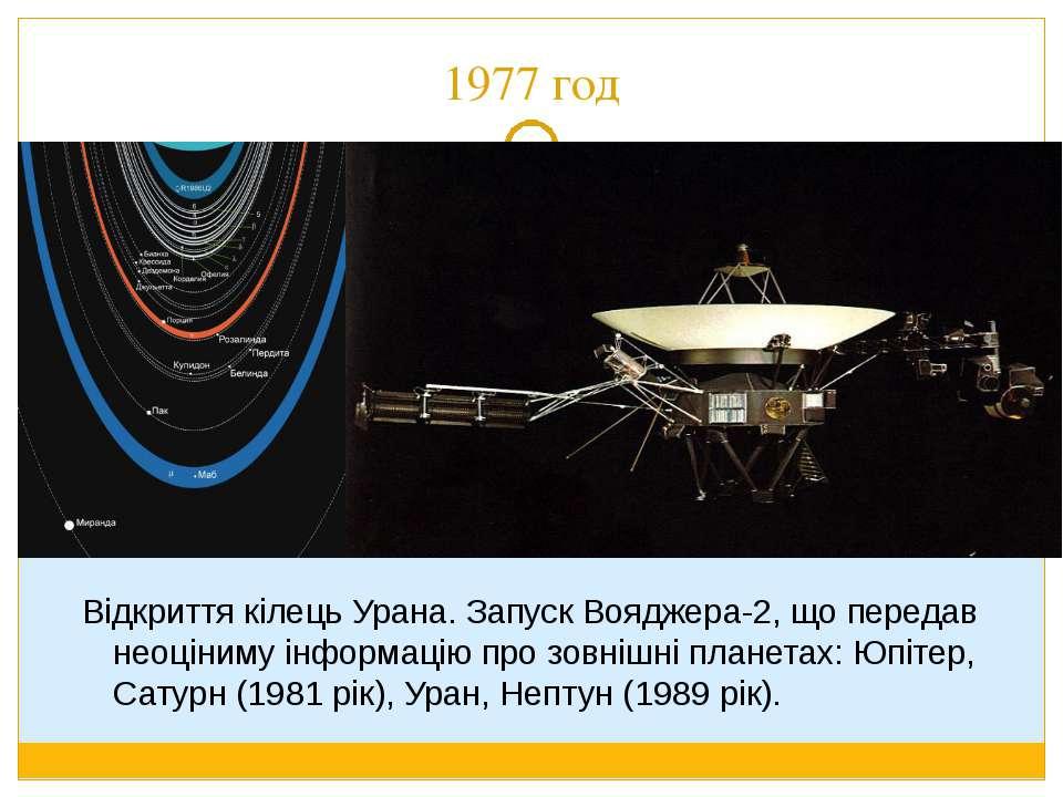 1977 год Відкриття кілець Урана. Запуск Вояджера-2, що передав неоціниму інфо...