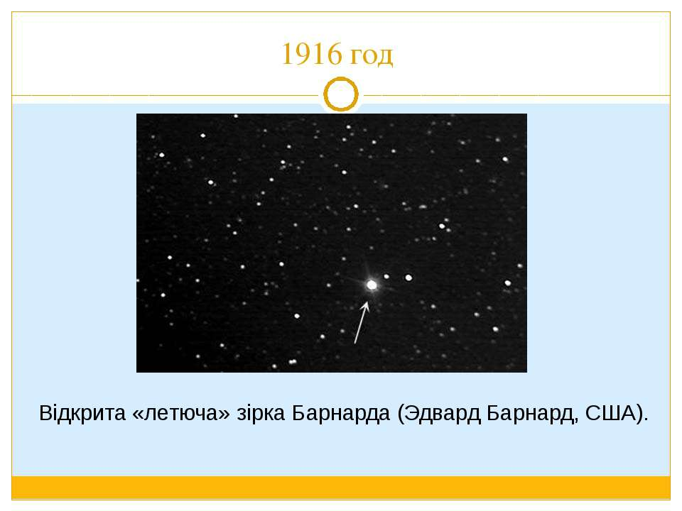 1916 год Відкрита «летюча» зірка Барнарда (Эдвард Барнард, США).