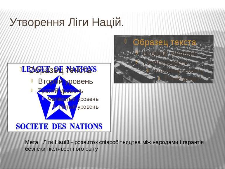 Утворення Ліги Націй.