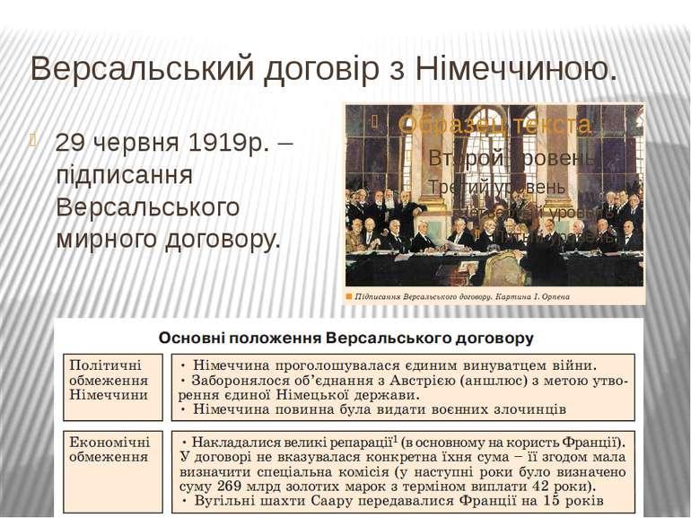 Версальський договір з Німеччиною. 29 червня 1919р. – підписання Версальськог...