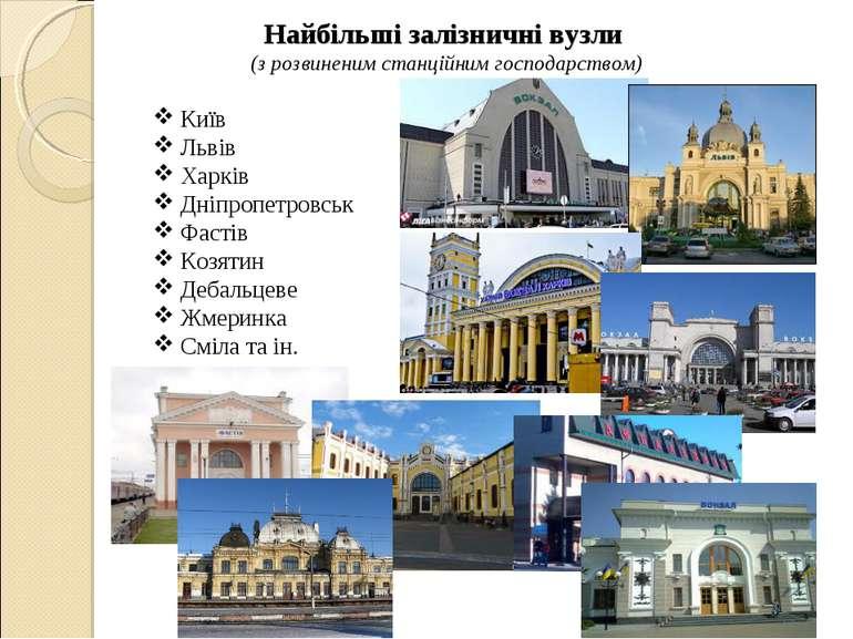 Найбільші залізничні вузли (з розвиненим станційним господарством) Київ Льв...
