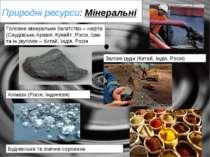 Природні ресурси: Мінеральні Головне мінеральне багатство – нафта (Саудівська...