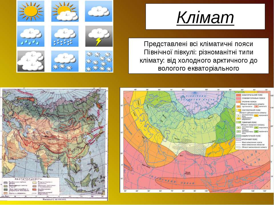 Клімат Представлені всі кліматичні пояси Північної півкулі: різноманітні типи...