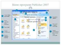Вікно програми Publisher 2007 1 2 3 4 5 6 7 8 8 7 6 5 4 3 2 1 Список Типи пуб...