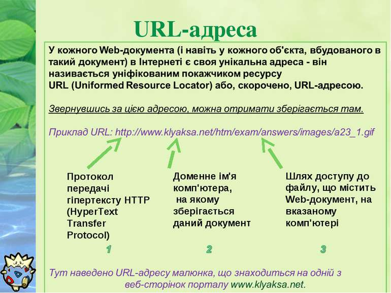 URL-адреса Протокол передачі гіпертексту HTTP (HyperText Transfer Protocol) Д...