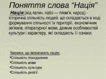 """Поняття слова """"Нація"""" Нація (від латин. natio — плем'я, народ) - історична сп..."""