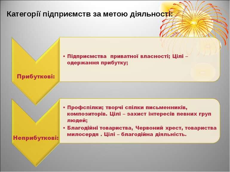 Категорії підприємств за метою діяльності: