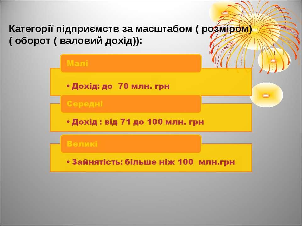 Категорії підприємств за масштабом ( розміром) ( оборот ( валовий дохід)):