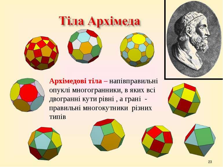 * Архімедові тіла – напівправильні опуклі многогранники, в яких всі двогранні...
