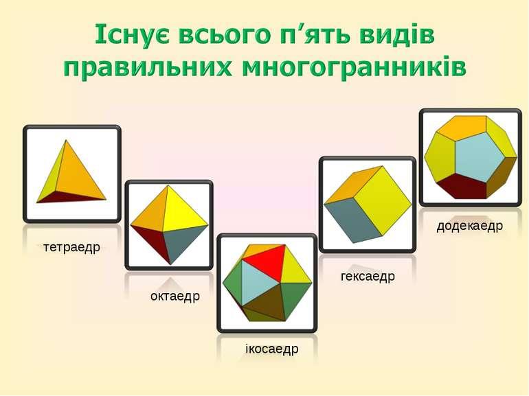 тетраедр октаедр ікосаедр гексаедр додекаедр