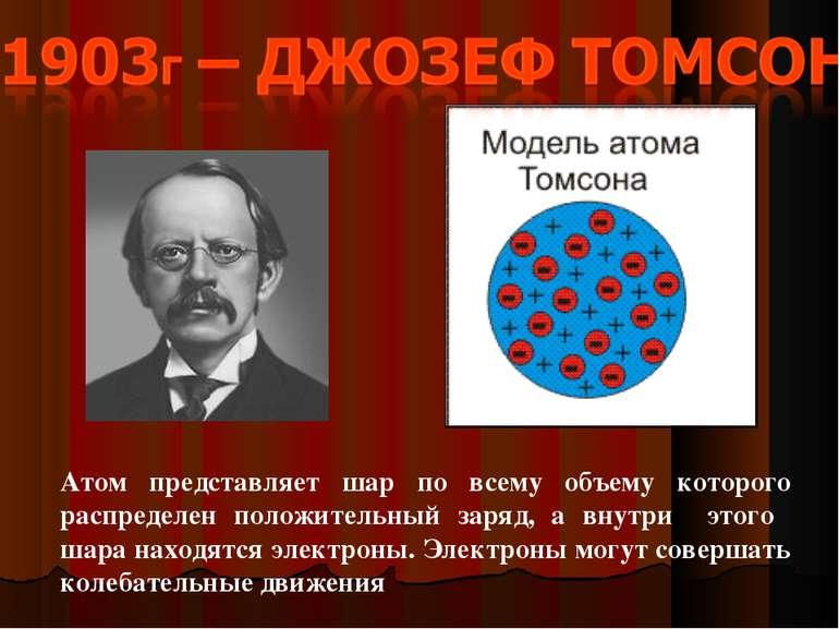 Атом представляет шар по всему объему которого распределен положительный заря...