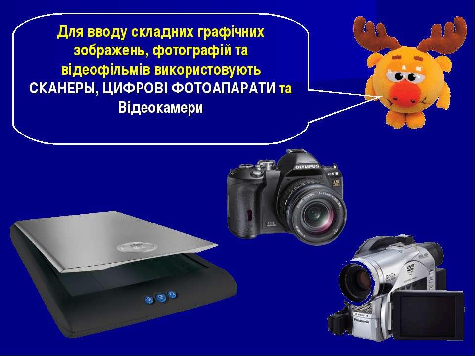 Для вводу складних графічних зображень, фотографій та відеофільмів використов...