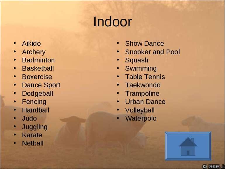 Indoor Aikido Archery Badminton Basketball Boxercise Dance Sport Dodgeball Fe...