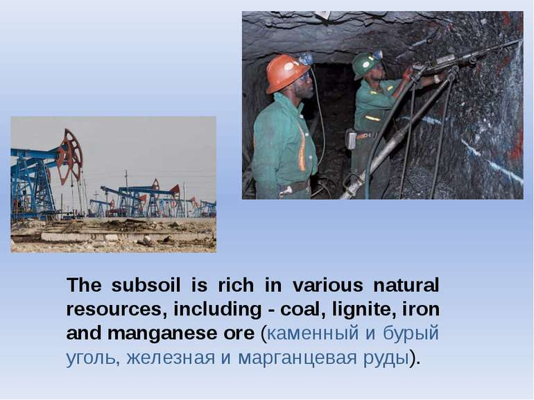 The subsoil is rich in various natural resources, including - coal, lignite, ...