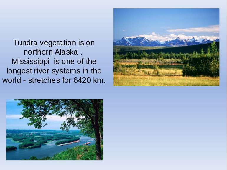 Tundra vegetation is on northern Alaska . Mississippi is one of the longest r...